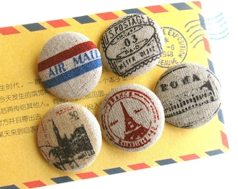 "Handmade Large Retro Beige Red Postal Airmail Vacation Fabric Covered Buttons, Airmail Holiday Fridge Magnets, Flat Backs, 1.25 "" 5's"