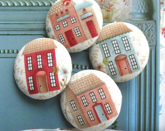 "Large Country Red Cream Blue House Home Handmade Fabric Covered Buttons, Large Home Kitchen Fridge Magnets, Flat Backs, 1.5"" 4's"