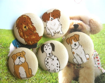 Handmade Beige Brown Dogs Puppy Pets Animal Fabric Covered Buttons, Dogs Animal Fridge Magnets, 1.25 Inches 5's