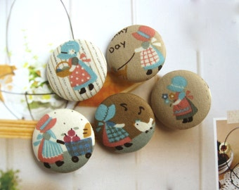 "Large Kawaii Brown White Country Girl Doll Fabric Covered Buttons, Retro Country Fridge Magnets, Flat Backs, 1.25 "" 5's"