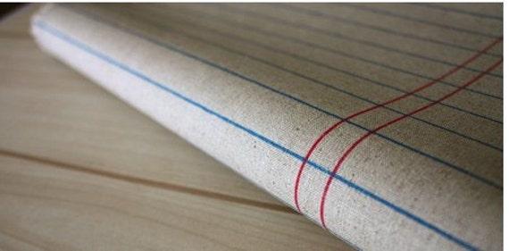 Zakka Beige Khaki Red Blue Stripes Lines Cloth Fabric 55 x 19 Inches