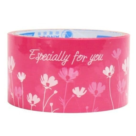 Deco Tape Stickers - Pink White Flowers Especially For You Floral Gift Deco Tape Sticker