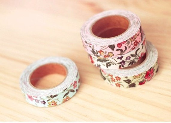 Spring Pink Floral Flowers Leafs Fabric Cloth Deco Tape Sticker