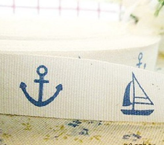 Zakka Blue Nautical Marine Boat Anchor Pants Dress Bag Clothes Handmade Cotton Wide Cloth Fabric Tape Label Ribbon