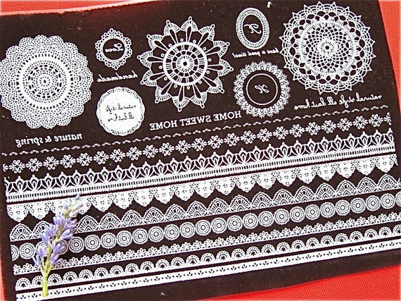 Fabric Iron On Patch Applique - Retro Brown Floral Flower Lace Borders Word Doily Iron On