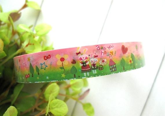 Deco Tape - Kawaii Rainbow Colorful Flower Rabbit House Deco Tape Scrapbook Stickers
