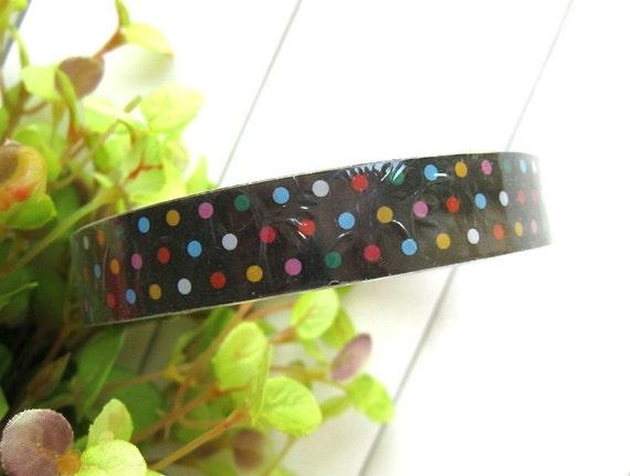Kawaii Black Rainbow Colorful Polka Dots Deco Tape Scrapbook Stickers LAST ROLL