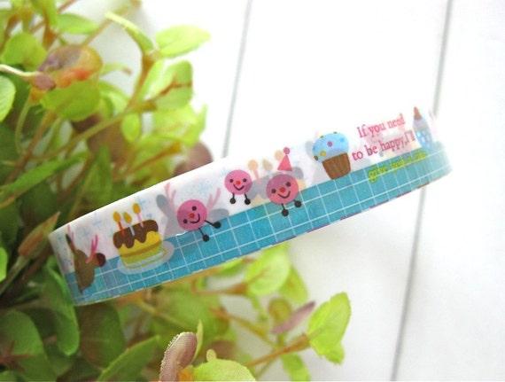 Deco Tape - Kawaii Rainbow Birthday Cake Cupcake Deer Bear Animal Deco Tape Scrapbook Stickers LAST
