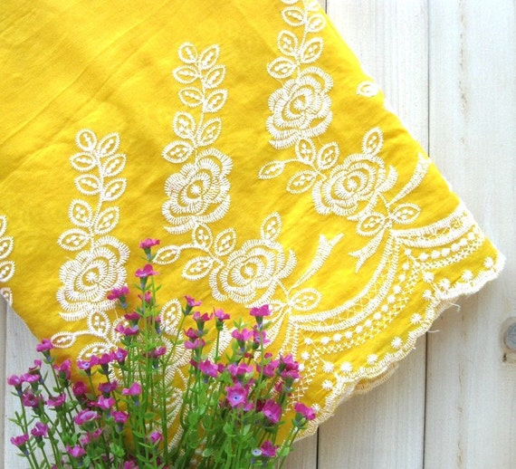 Lace fabric yellow white embroidered flower floral