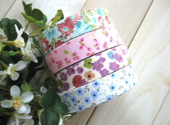 Fabric Deco Tapes - Purple Blue Pink Red Flowers Floral Fabric Cloth Deco Scrapbook Sticker Tape 4's LAST SET