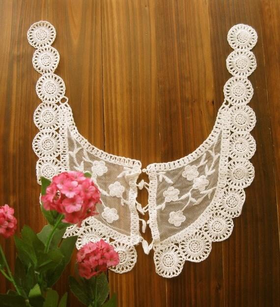 Lace Fabric Doily Trim - Beige Cream Crochet Lace Wide Floral Neck Shirt Blouse Collar Doily Applique - Hayle LAST