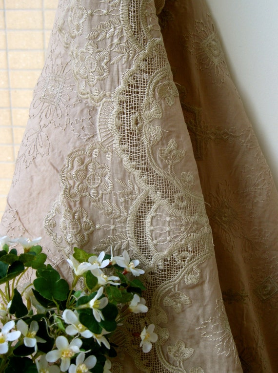 Zakka Dark Beige Flower Floral Lace Border Soft Silky Sheer Cotton Fabric Cloth 46 x 22 inches - Francine