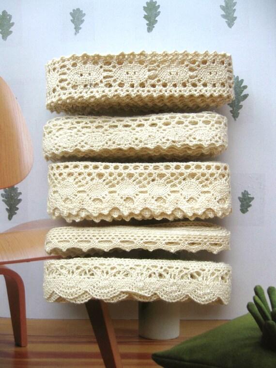 Cotton Lace Fabric Trim - Beige Cream Floral Crochet Scallop Cotton Lace Ribbon Trim Set 5 Designs Set 10 Meters LAST SET