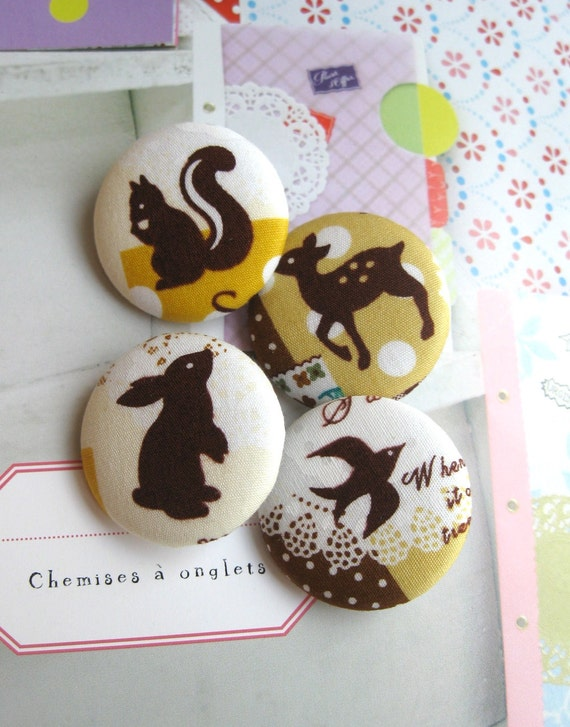 "Handmade Kawaii Woodland Yellow White Squirrel Bird Animal Children Fabric Covered Button, Woodland Animal Fridge Magnets, 1.25"" 4's"