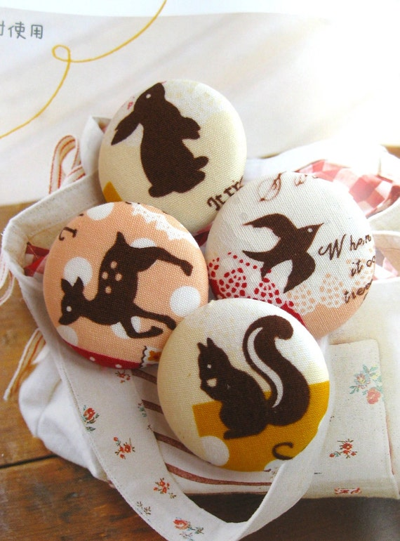 "Handmade Kawaii Woodland Yellow Pink Squirrel Bird Animal Children Fabric Covered Button, Woodland Animal Fridge Magnets, 1.25"" 4's"