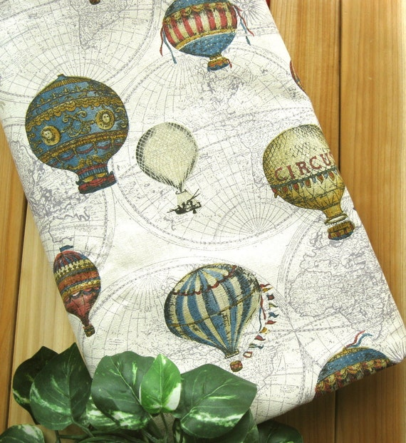 Cotton Linen Fabric Cloth - Vintage Style Red Blue Cream World Map Circus Balloon Fabric 44 x 19 Inches LAST PIECE