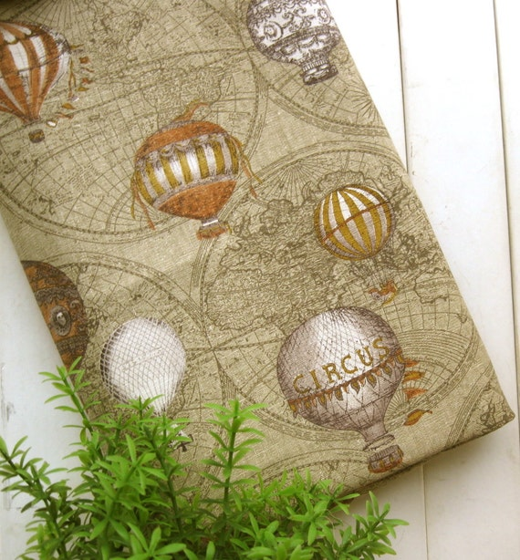 Cotton Linen Fabric Cloth - Vintage Style Brown Beige White World Map Circus Balloon Fabric 44 x 19 Inches LAST PIECE
