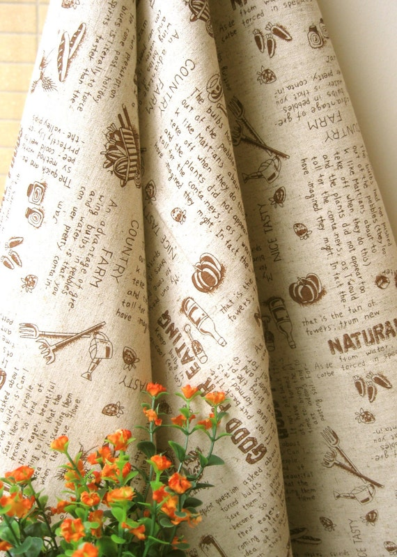 Cotton Linen Fabric Cloth - Beige Brown Food Sweets Candy Kitchen Country Words Fabric 56 x 19 Inches LAST