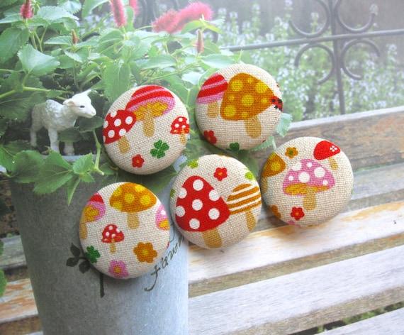Handmade Large Kawaii Children Beige Red Mushroom Fabric Covered Buttons Fridge Magnets, Flat Backs, 1.25 Inches 5's