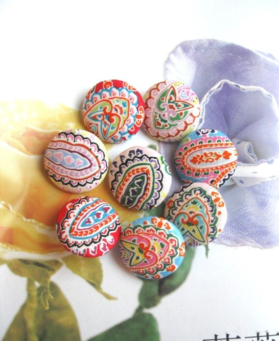 Fabric Buttons, Retro Orange Blue Yellow Pink Paisley Floral Fabric Covered Buttons, Flat Backs, Flower Magnets, 1.1 Inches 8's