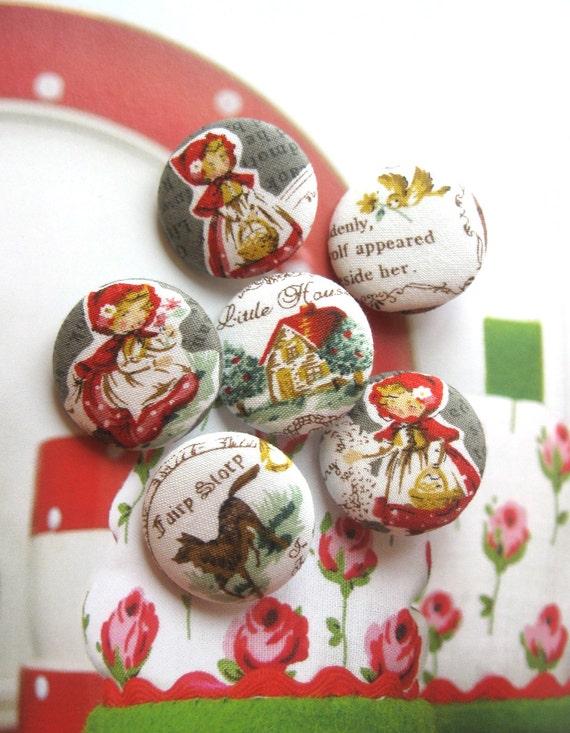 Handmade Kawaii Children Gray Grey White Little Red Riding Hood Fabric Covered Buttons Fridge Magnets, Flat Back, 1.25' 6's