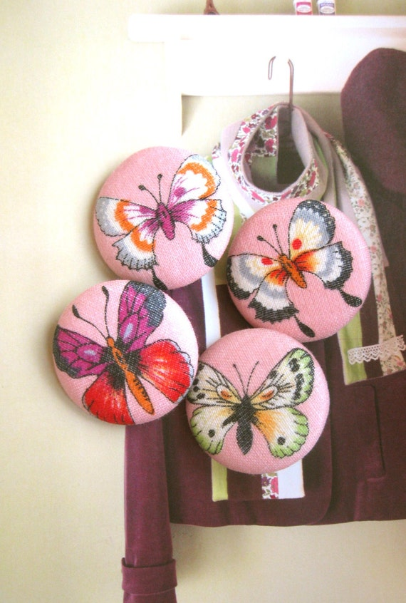 Handmade Fabric Buttons - Large Pink Colorful Butterfly Handmade Fabric Buttons 1.5 Inch 4's
