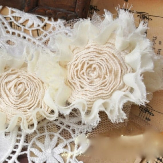 Lace Fabric Posy - LARGE Off White Floral Flower Wedding Fabric Posie Posy Trim LAST 60 INCHES