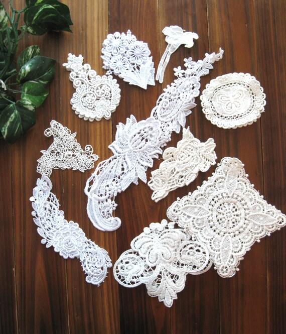 Cotton Lace Doily Doilies - Small Retro Cream White Crochet Floral Flower Lace Cotton Doily Doilies Applique 20's LAST SET