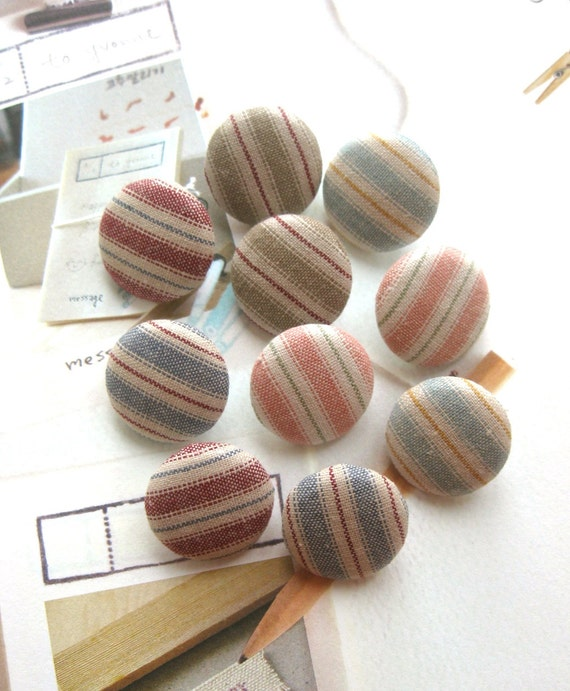 Handmade Country Rustic Nautical Country Stripes Blue Red Beige Fabric Covered Buttons, Country Stripes Fridge Magnets, CHOOSE SIZE 10's
