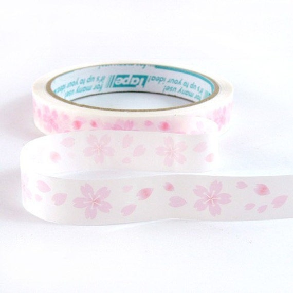 Japanese Pink White Cherry Blossom Flowers Deco Tape Scrapbook Stickers