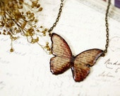 Autumn red script butterfly necklace