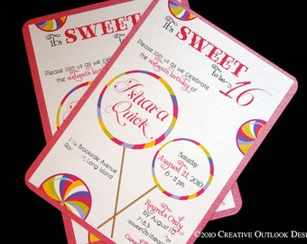 Candyland Lollipop Candy Theme Sweet 16 Birthday Invitation