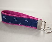 Navy Tiny Anchors on Pink Key Fob Wristlet