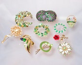 Vintage Rhinestone Jewelry Brooch Lot Shades of Green