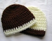 Crocheted Baby Boy Hats, Brown and Cream, Size 0-3 Months, Twins, Ready to Ship - SHOP CLOSING SALE