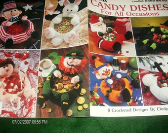 Holiday Crocheting Patterns Candy Dishes Leisure Arts 2459 Crochet Pattern Leaflet Very Hard to Find