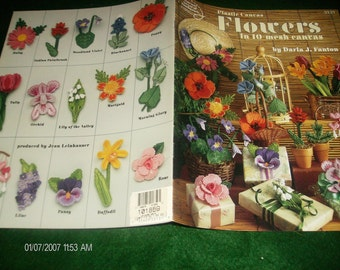 Floral Plastic Canvas Patterns Flowers in 10 Mesh Canvas American School of Needlework 3131 Darla Fanton Plastic Canvas Pattern Leaflet