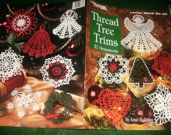 Crocheting Christmas Ornament Thread Tree Trims Leisure Arts 2836 Anne Halliday Crochet Pattern Lealfet
