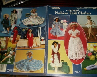 Crocheted Fashion Doll Clothes Leisure Arts 268 Crochet Pattern Leaflet to fit Barbie Doll