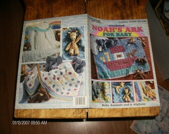 Baby Afghan and Toy Crochet Patterns Noah's Ark for Baby Leisure Arts 2964 Crocheting Pattern Leaflet