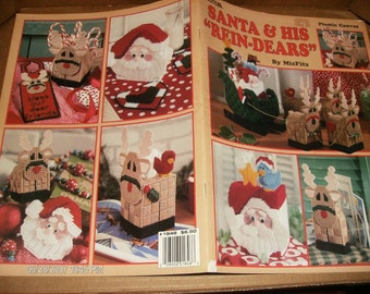Christmas Plastic Canvas Patterns Santa and His Rein-Dears Leisure Arts 1848 Plastic Canvas Leaflet