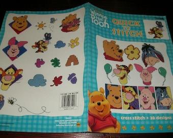 Cross Stitch Charts Winnie the Pooh Quick to Stitch Leisure Arts 3192 Counted Cross Stitch Leaflet
