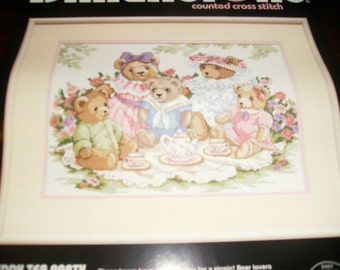 Counted Cross Stitch Kit Teddy Tea Party Dimensions 3733 Counted Cross Stitch Kit Rare and Hard to Find