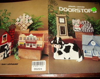 Plastic Canvas Pattern Leaflet Doorstops American School of Needlework 3058 Plastic Canvas Pattern Leaflet