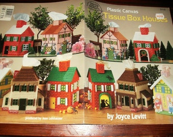Plastic Canvas Tissue Box Houses American School of Needlework 3113 Pattern Leaflet