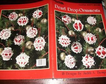 Thread Crochet Pattern Pearl Drop Ornaments Leisure Arts 2377 Pattern Leaflet