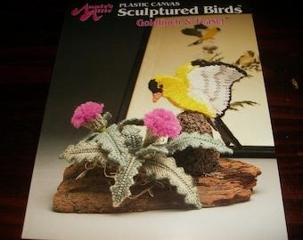 Plastic Canvas Pattern Sculptured Birds Goldfinch and Teasel Annie's Attic 87B33 Plastic Canvas Patterns Leaflet