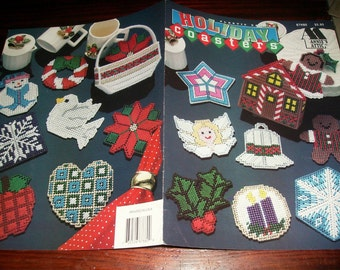 Coaster Plastic Canvas Patterns Holiday Coasters Set Annies Attic 87H80 Plastic Canvas Pattern Leaflet