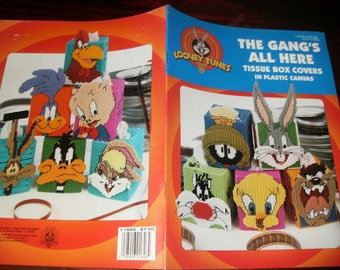 Tissue Box Covers Plastic Canvas Patterns Looney Tunes The Gang's All Here Leisure Arts 1826 Plastic Canvas Leaflet Joan Ray