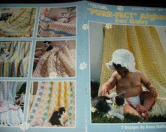 Baby Afghan Crocheting Patterns Purr-Fect Aghans for Baby Leisure Arts 2857 Crochet Pattern Leaflet Anne Halliday